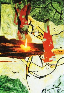 """""""Die Schönheit der Waffen ...Abschuss"""", Collage, Bild aus """"Mein Fotoalbum"""", Galerie Minotaura 1994, Sammlung Georg Mühleck"""