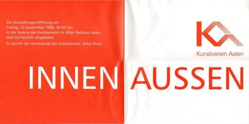 """Plakat zur Ausstellung """"Innen - Aussen"""", Kunstverein Aalen 1998"""