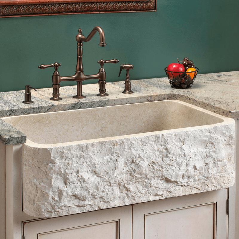 white stone farmhouse sink with
