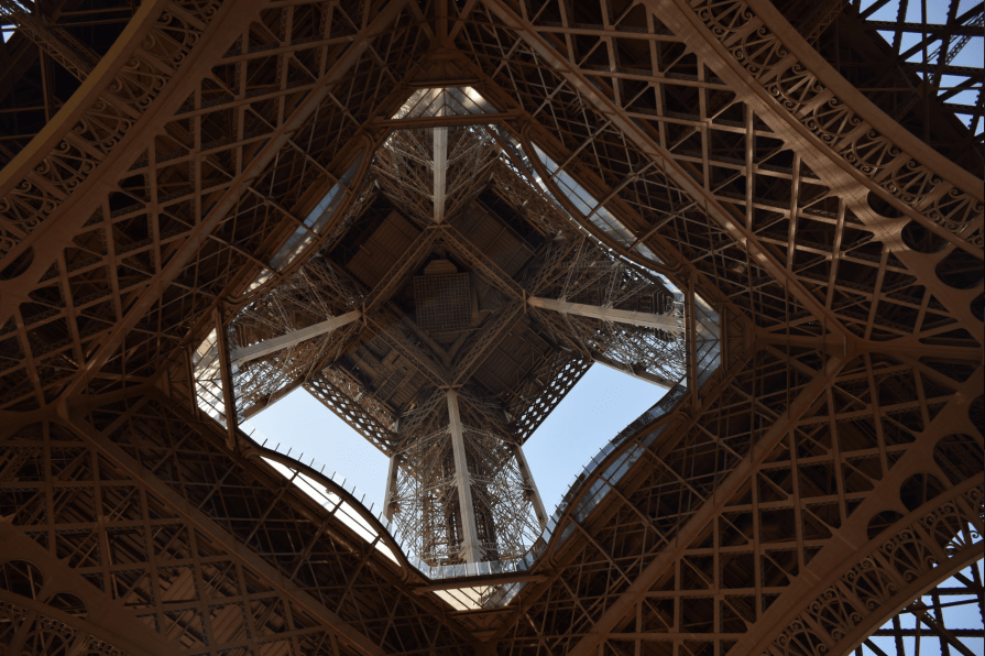 The Eiffel Tower seen from underneath.