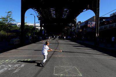 Stickball on NYC Streets (Photo by Alex Trautwig/MLB Photos via Getty Images)