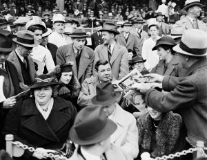 Babe Ruth at the 1936 World Series with his second wife, Claire.CreditCreditNew York City Municipal Archives, via Associated Press