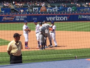 Mets And Padres Chat During a Pitching Change July 25, 2019 (Photo: Steve Contursi. Reflections On Baseball