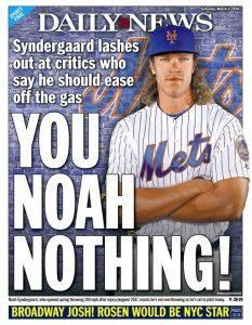 Noah Syndergaard's Rocky Road With NY Media (Photo: New York Daily News)