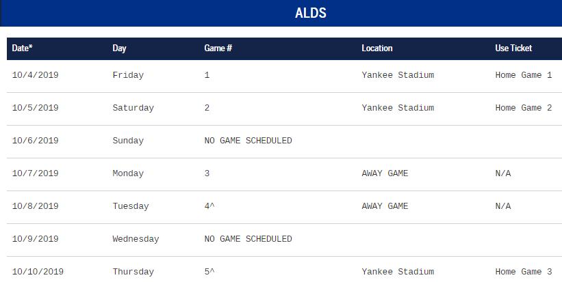 2019 ALDS Schedule (Source: MLB.com)