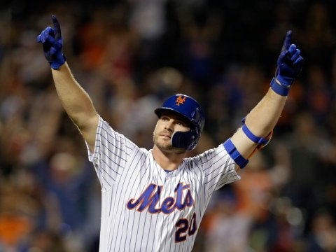 Pete Alonso Celebrates His 53rd Home Run In 2019 (Photo: Adam Hungerr Associated Press)