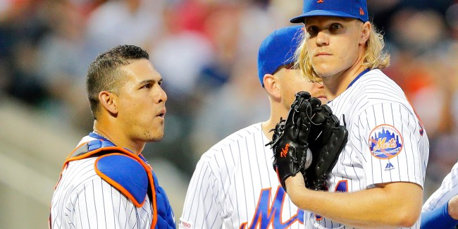 "Battery ""Mates"" Wilson Ramos and Noah Syndergaard (Photo: Paul J. Bereswill)"