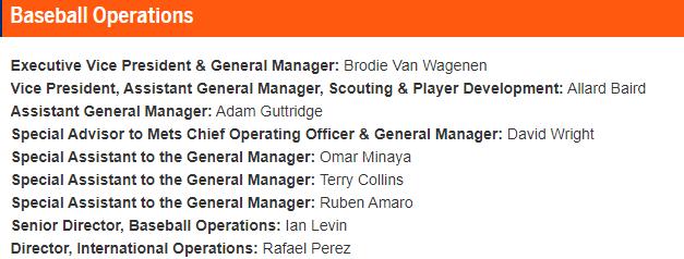 Brodie Van Wagenen's Staff (Source: newyorkmets.com)