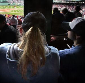 Enjoying the game Red Sox fan (Photo: Boston Globe)