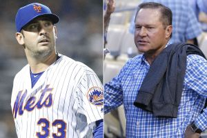 Scott Boras leading Matt Harvey - to where? (Photo: NY Post)