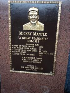 Mickey Mantle, Monument Park, Yankee Stadium
