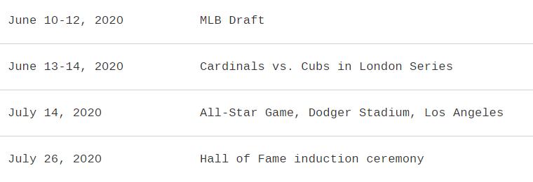 MLB upcoming 2020 dates