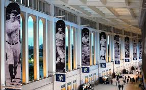 Yankee Legends line the wall of the Great Hall at Yankee Stadium