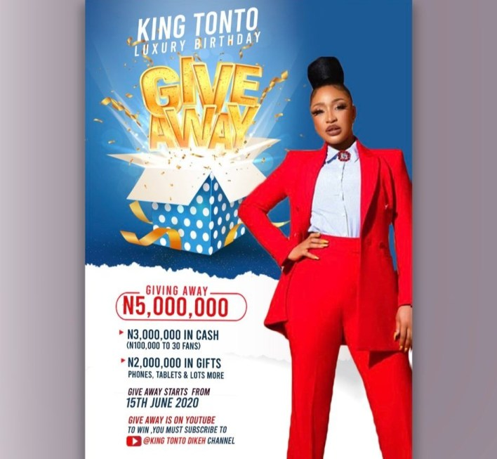 Tonto Dikeh Ready to Giveaway N3m, find why and how