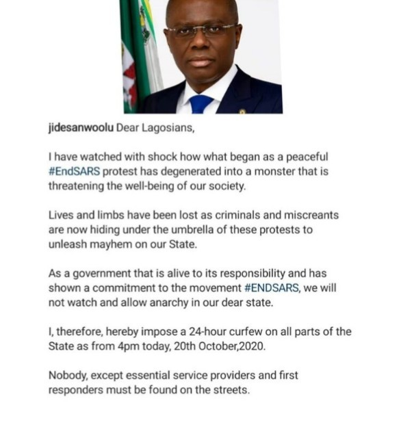 #ENDSARSNOW: Lagos Govt Announces a 24hours Curfew, from 4pm today