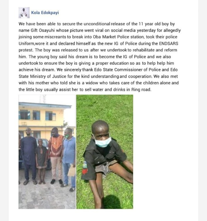 """""""My Dream is to Become IGP"""" – Declares Boy Arrested in Edo After His Release"""