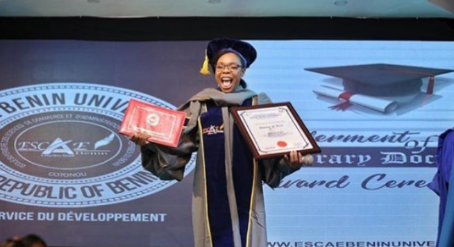 Nigerian Dancer, Kaffy Decorated Honorary Doctorate Degree in Benin Republic