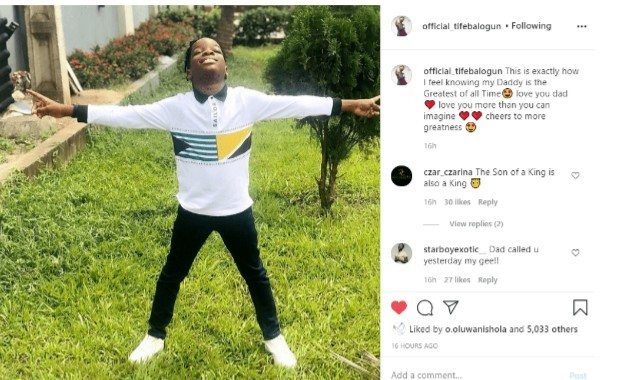 Wizkid's son, Boluwatife Celebrates Dad Describe Him as the Greatest of all Time