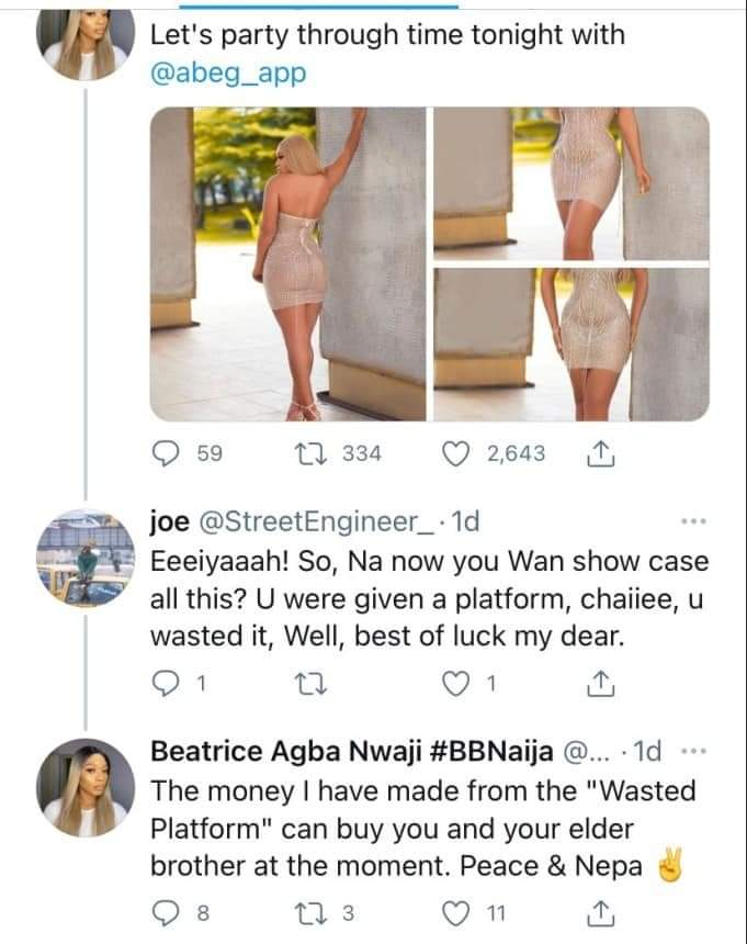 BBNaija Evicted Beatrice insults Troller, Accused of Wasting Platform