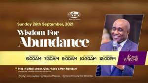 Live David Ibiyeomie Sunday Service 26 September 2021 - Wisdom for Abundance