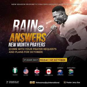Live New Month Prophetic Prayers Jerry Eze 1 October 2021 - Rain of Answers