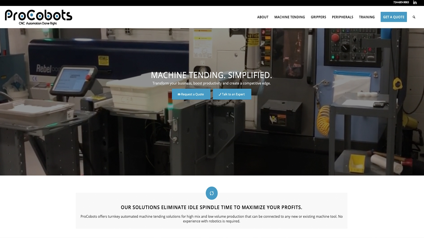 Procobots CNC Automation Reflex Website Design