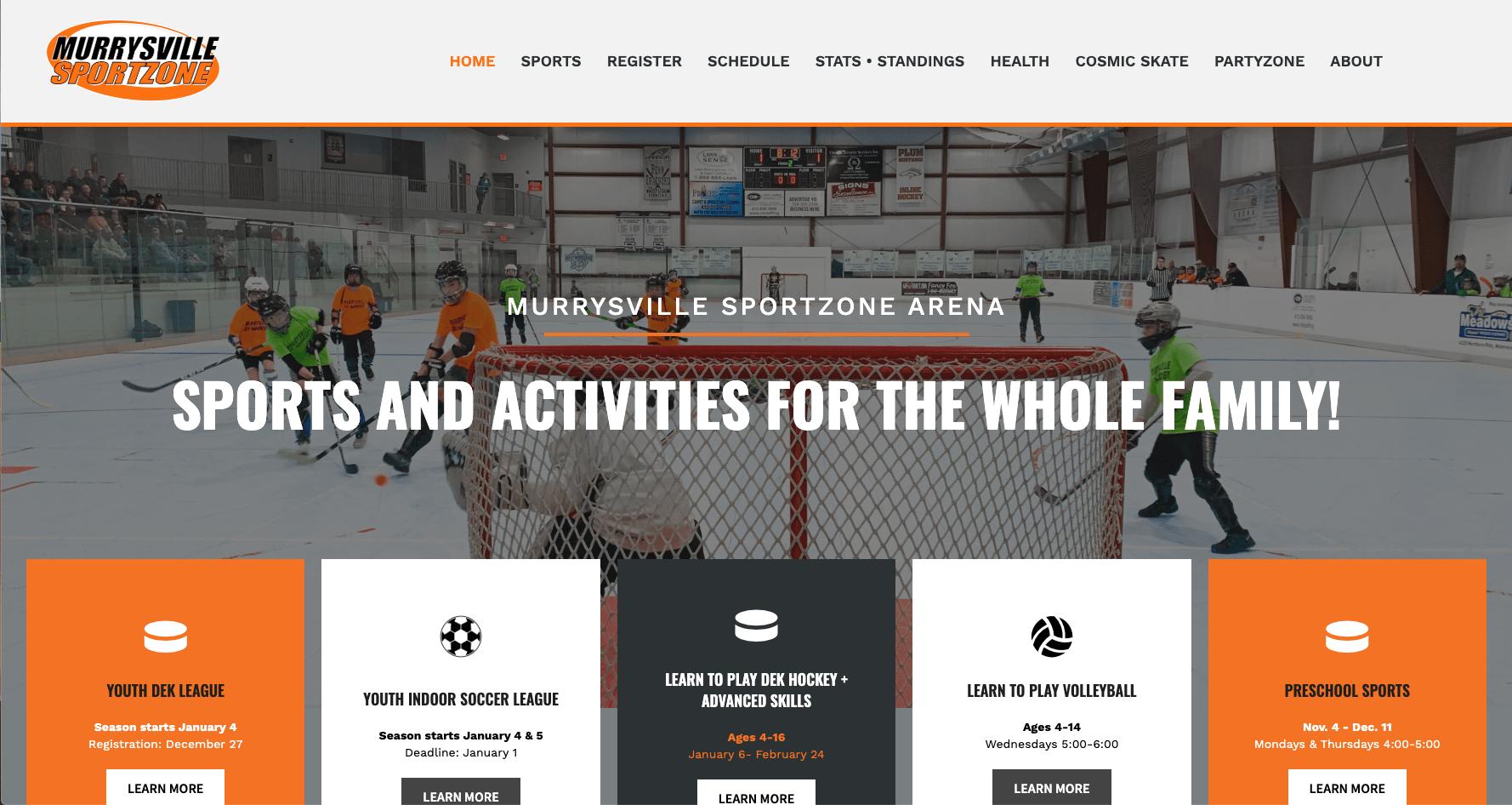 Murrysville SportZone Sport Complex Reflex Website Design