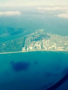 Vista del aire de Key Biscayne, Florida, Estados Unidos
