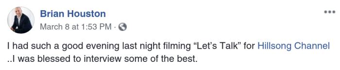 Brian Houston Facebook Post Beth Moore Laurie Matt Crouch TBN Praise