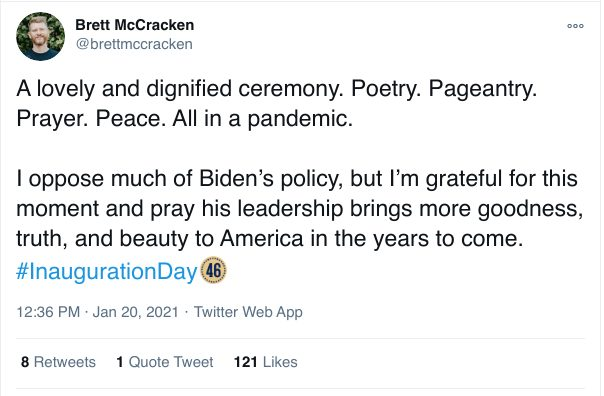 A lovely and dignified ceremony. Poetry. Pageantry. Prayer. Peace. All in a pandemic.  I oppose much of Biden's policy, but I'm grateful for this moment and pray his leadership brings more goodness, truth, and beauty to America in the years to come. #InaugurationDay
