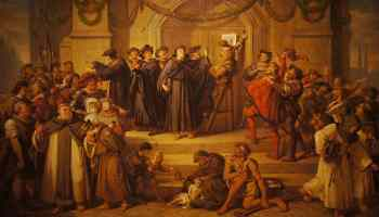 Painting of Luther nailing 95 theses