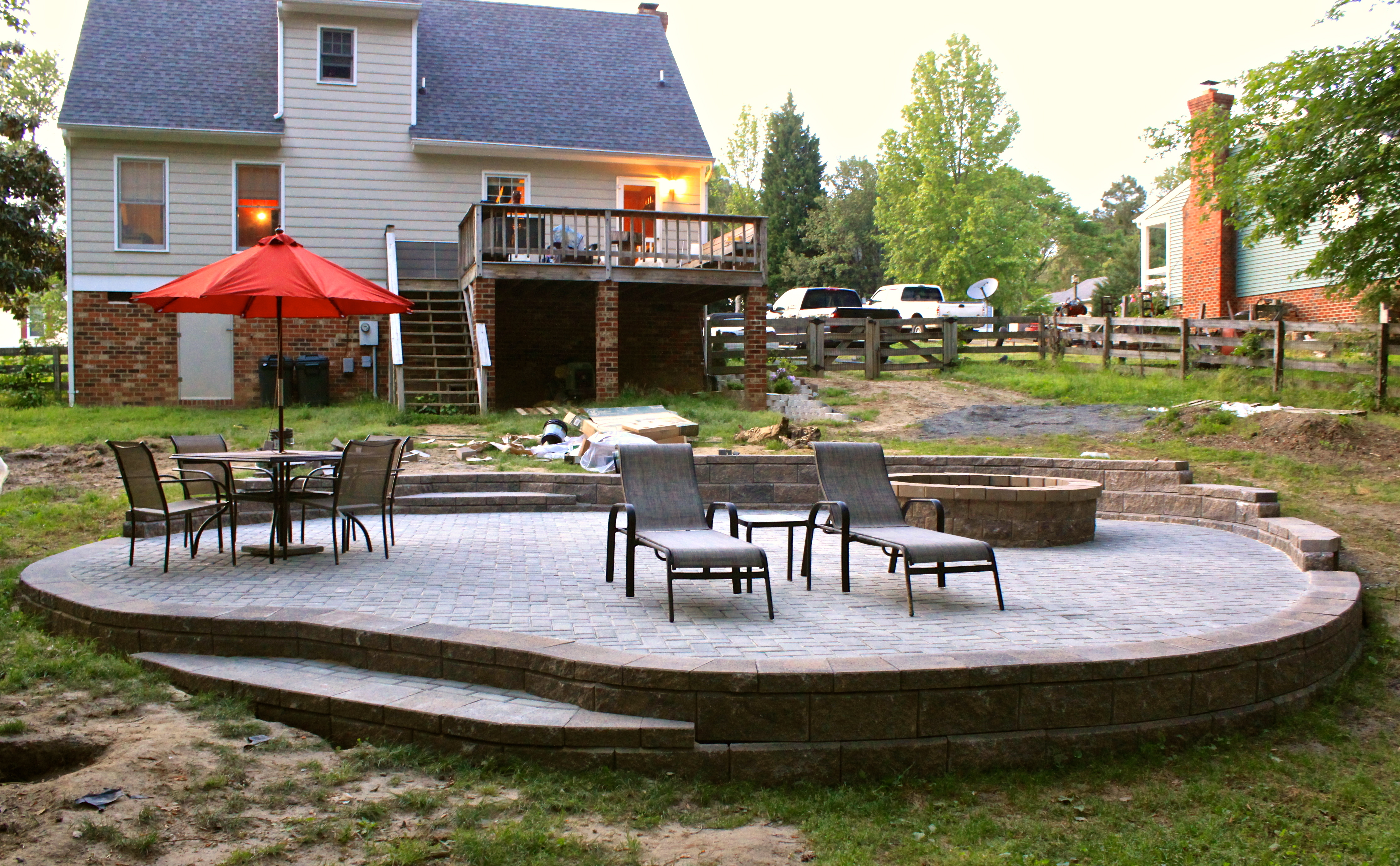 Allan Block Patio with Retaining Wall and Fire Pit ... on Patio Stone Wall Ideas  id=62070