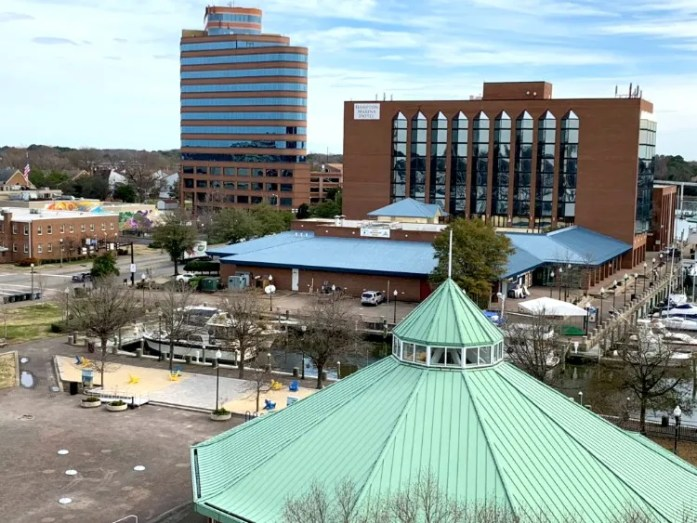 A gorgeous view of Hampton, Virginia from atop the observation deck at the Air & Space Center! Photo credit: Chris Judd