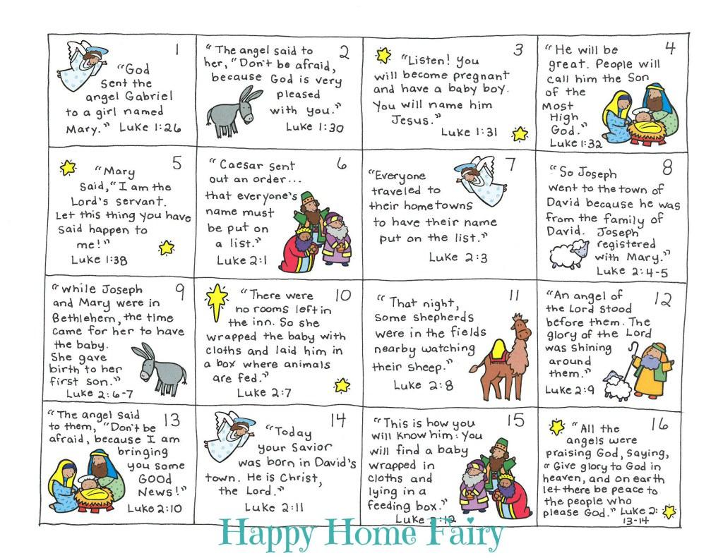 Christmas Story Bible Verse Card Countdown