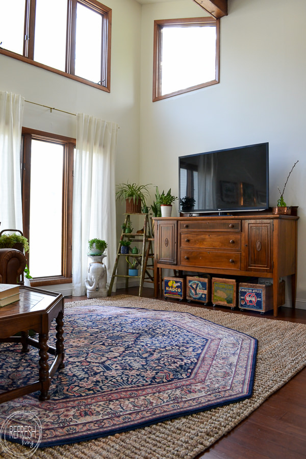 electic vintage modern living room with antique and ...