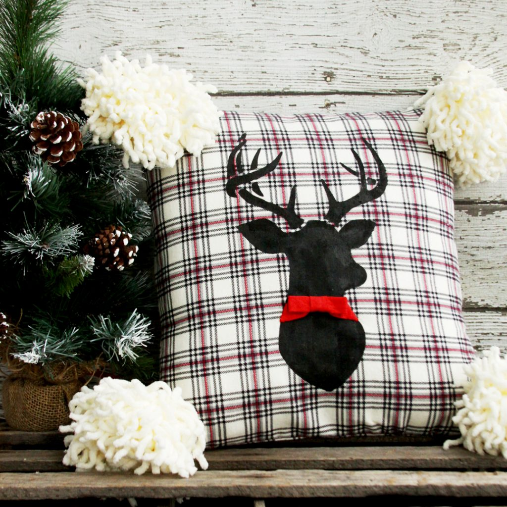 Stenciled-Deer-Flannel-Pillow-square