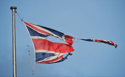 Union flag torn