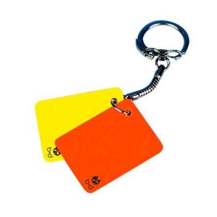 Sleutelhanger met rode en gele kaart