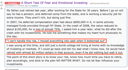 Reddit fear of investing