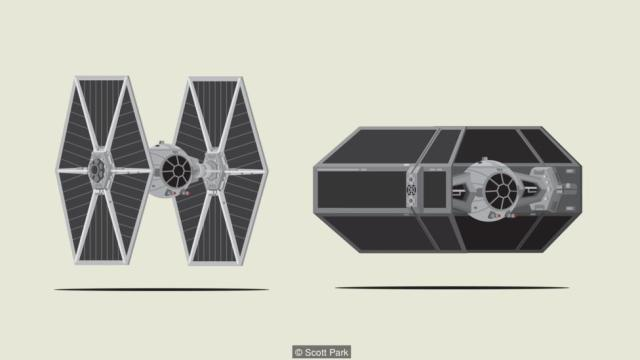 Tie fighter and Darth Vader's Tie Advanced x1