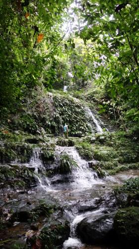 Volunteers enjoy a casual waterfall hike