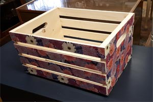 decoupaged crate workshop