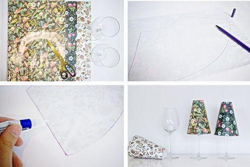 Hacer pequeñas lámparas de mesa con copas y pantallas de papel 2