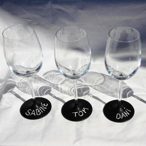 Copas de vino personalizadas con pintura de pizarra 1