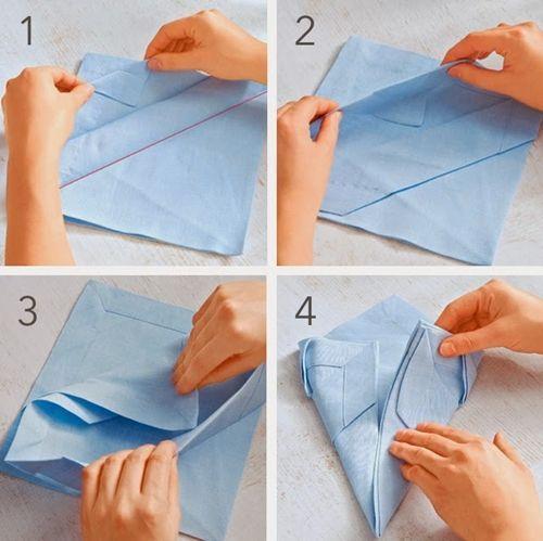 como hacer doblado de servilletas de tela