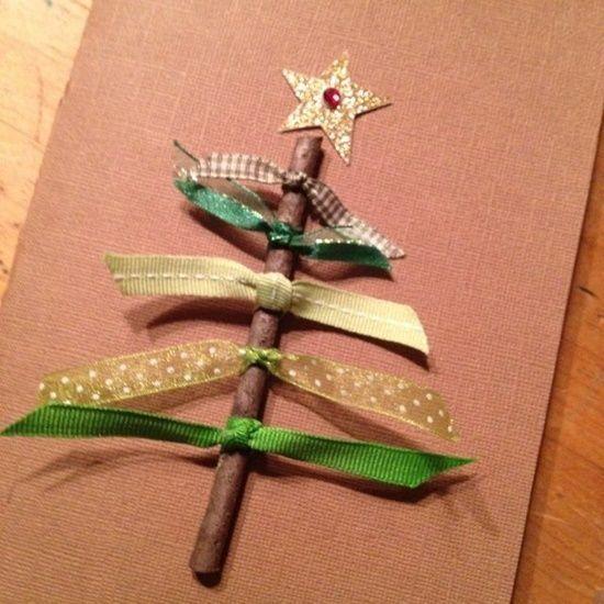 postales de navidad originales con cintas y ramas secas