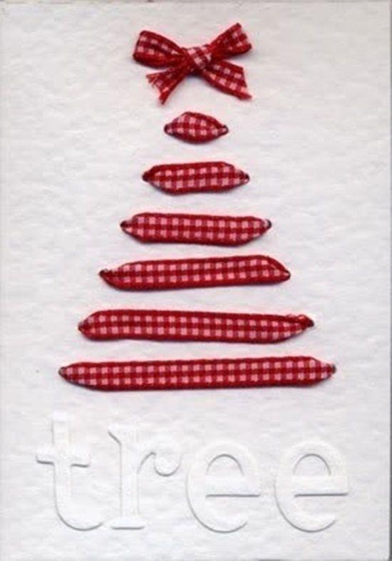 Postales de Navidad originales con cintas y ramas secas 2