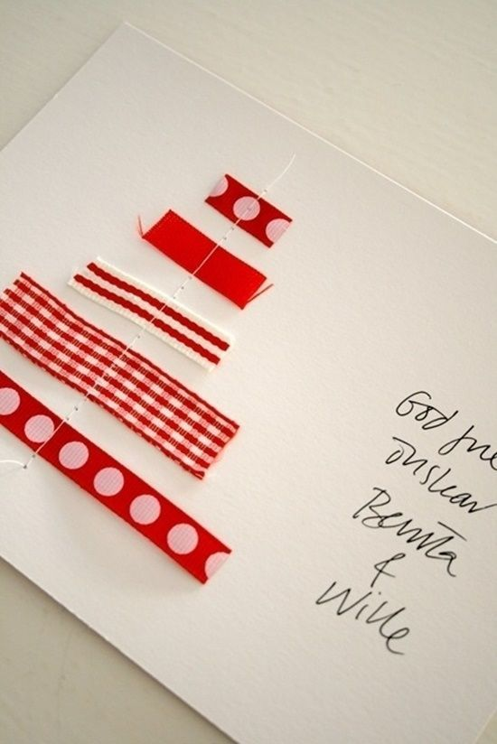 Postales de Navidad originales con cintas y ramas secas 3