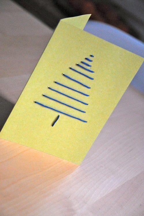 Tarjetas de Navidad originales hechas a mano con puntadas 2