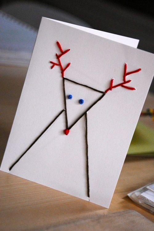Tarjetas de Navidad originales hechas a mano: figuras con puntadas ...
